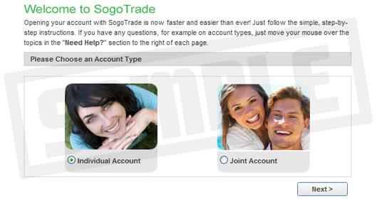 Open account with online broker Sogotrade